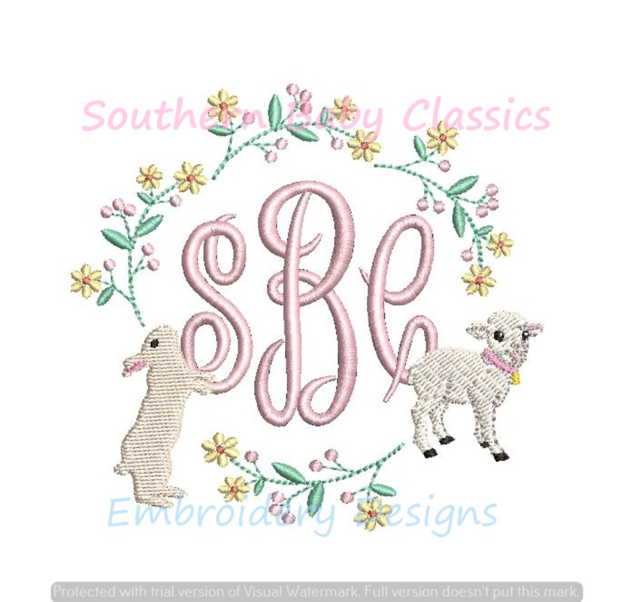 Floral Bunny Rabbit Lamb Spring Monogram Frame Machine Embroidery Spring Easter Sheep