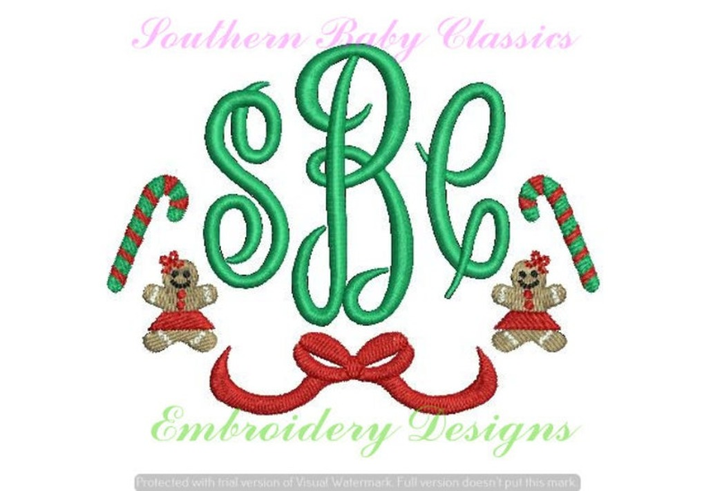 Candy Cane Gingerbread Girl Bow Monogram Frame Swag Christmas Machine Embroidery