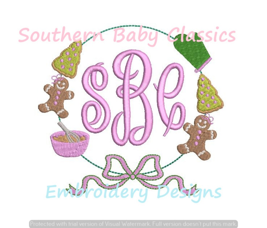 Christmas Cooking Cookie Baking Girl Ribbon Bow Monogram Frame Machine Embroidery Design