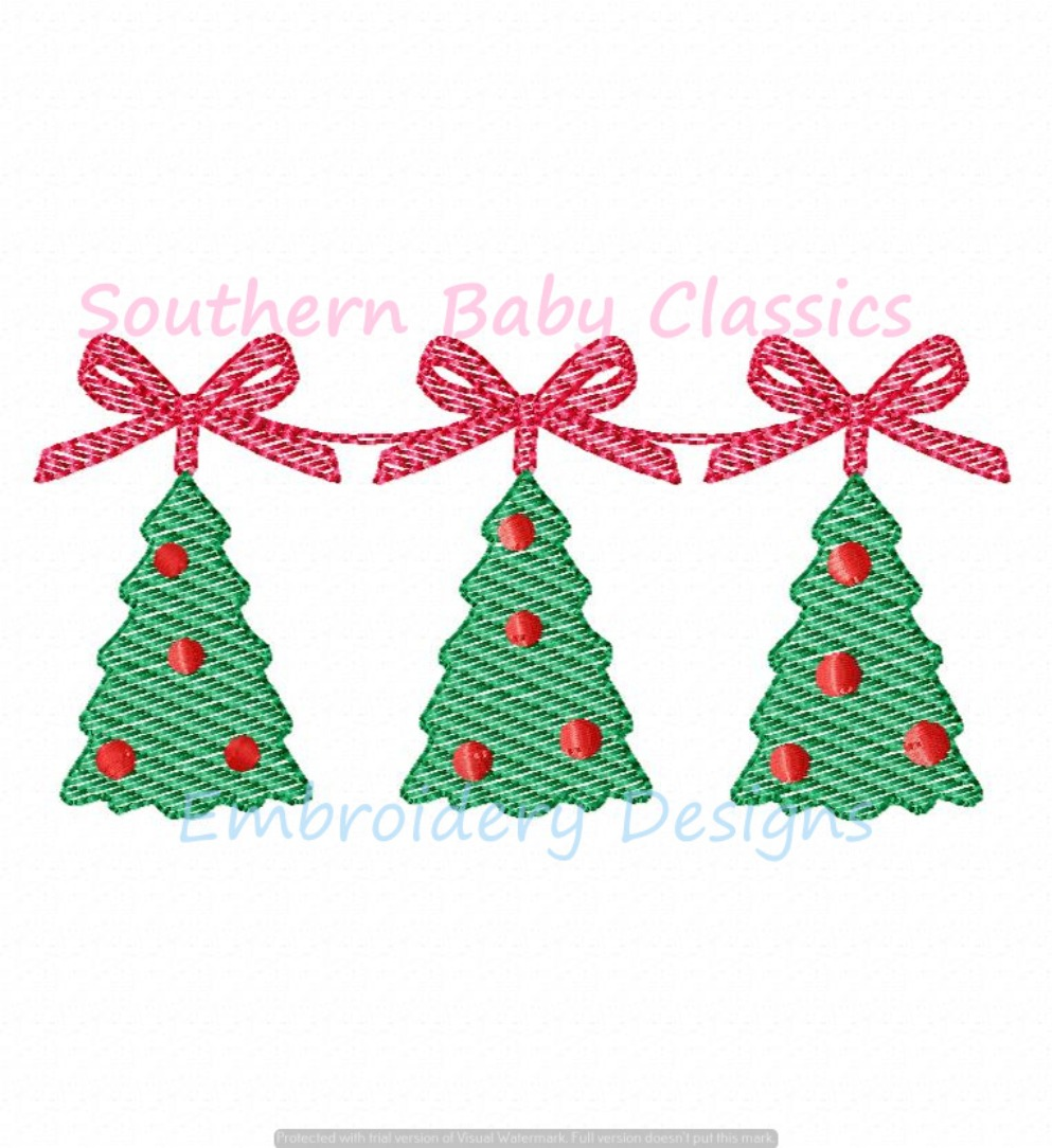 Christmas Tree Trio With Ribbon Bow Stringer Light Sketchy Fill Machine Embroidery Design