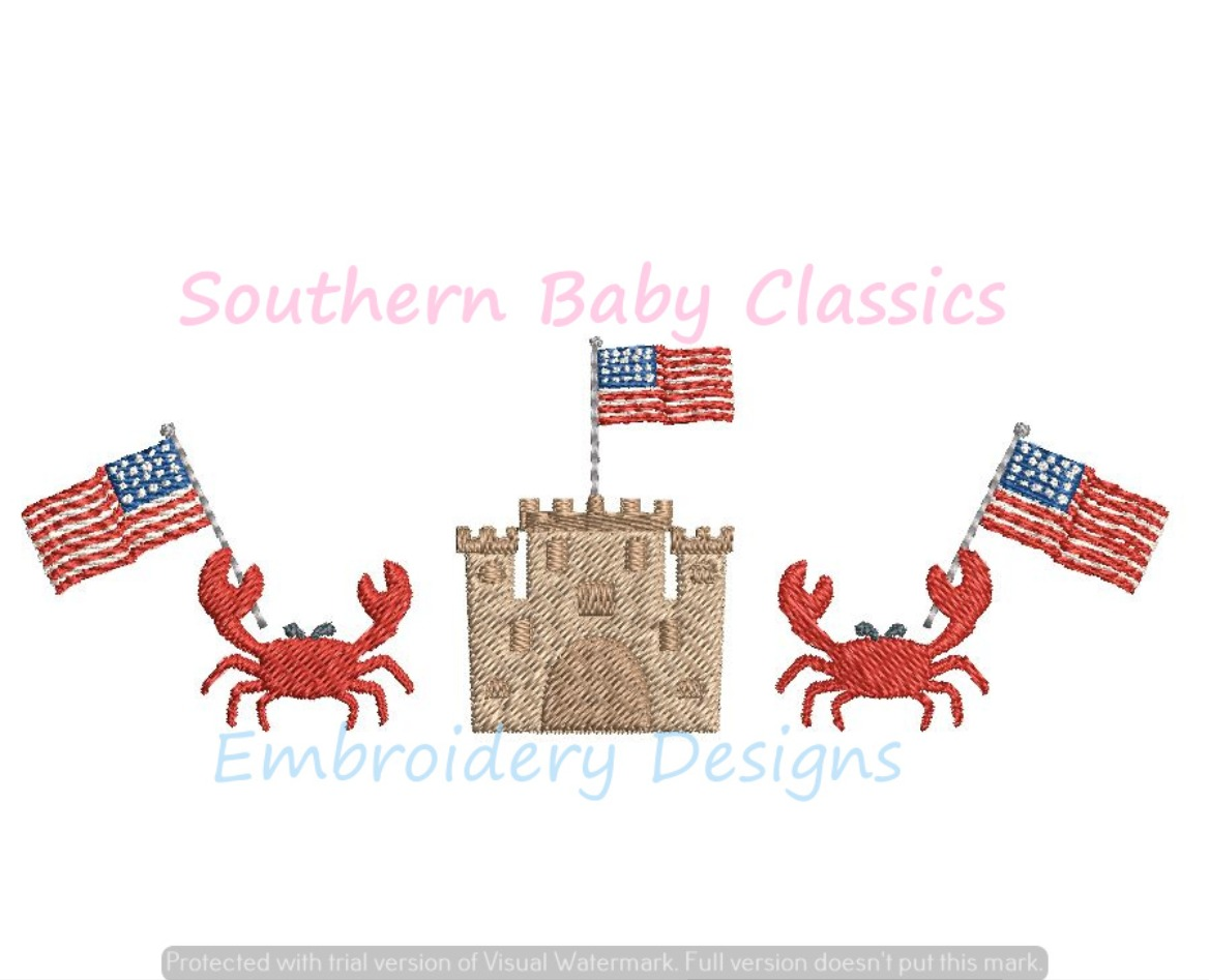 Crab Beach Sand Castle American Flag Patriotic Fourth of July Vacation Fill Machine Embroidery Desig