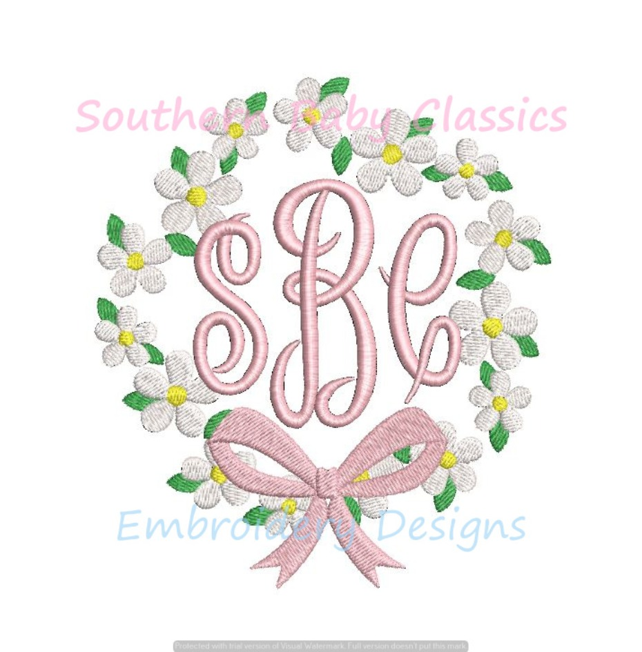 Daisy Chain Ribbon Bow Monogram Frame Machine Embroidery Design Flower Floral Spring Easter