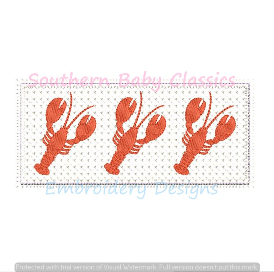 Lobster Textured Panel Applique Machine Embroidery Design Faux Smocking Cross Stitch Summer Preppy