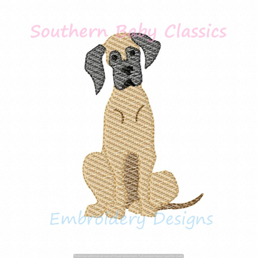 Great Dane Dog Light Sketchy Fill Machine Embroidery Design Dogs Boy Girl Puppy
