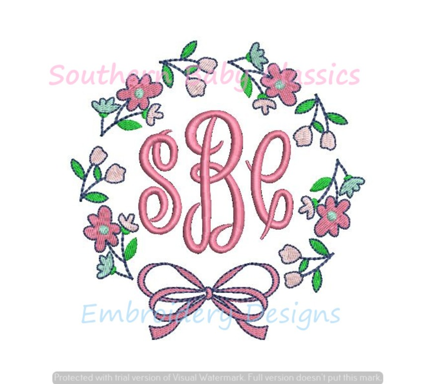 Wildflower Monogram Frame with Bow Machine Embroidery Design Wild Flowers Floral Spring Summer