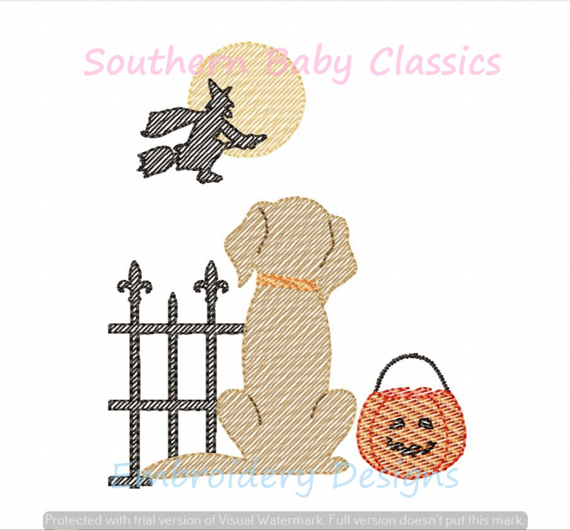 Trick or Treat Halloween  Dog from Behind Light Sketchy Machine Embroidery Design Lab Golden