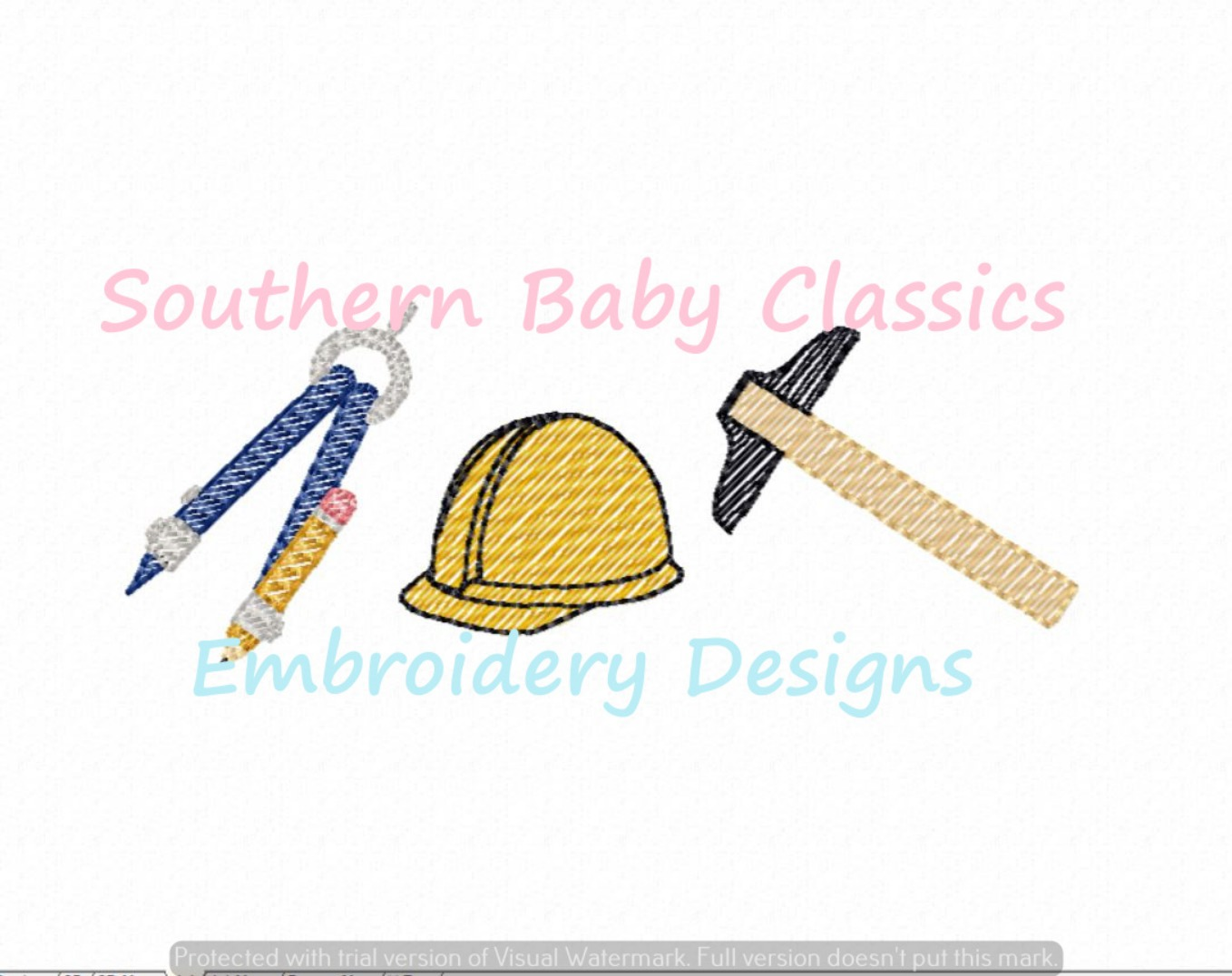 Engineer Architect Trio Sketchy Fill Machine Embroidery Design Math Career Science