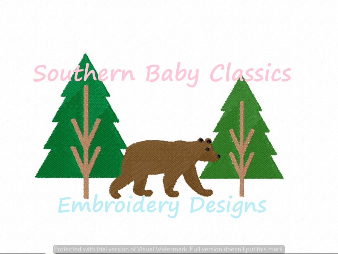 Bear in Woods Camping Machine Embroidery Design Fall Forrest Autumn