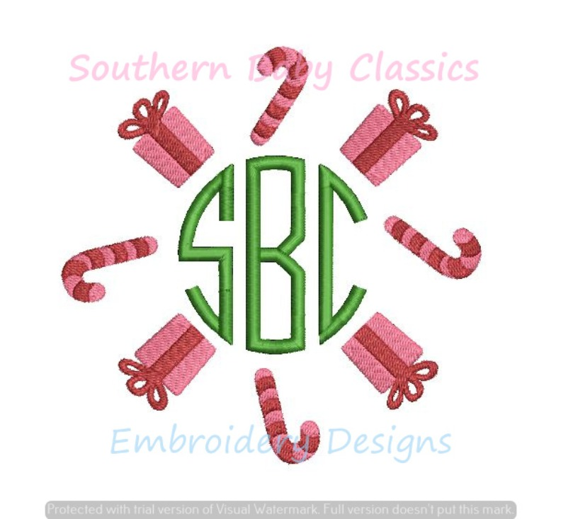 Christmas Candy Cane Present Monogram Embroidery Frame Machine Embroidery Design