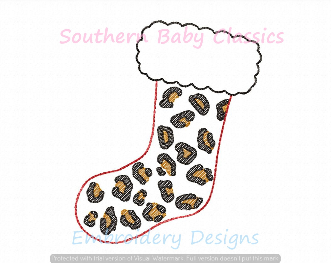 Leopard Print Christmas Stocking Light Sketchy Fill Machine Embroidery Design
