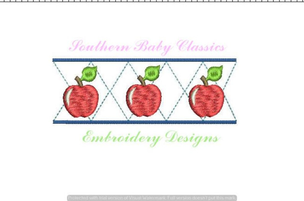 Apple Argyle Style Row Fill Machine Embroidery Design Back to School First Day