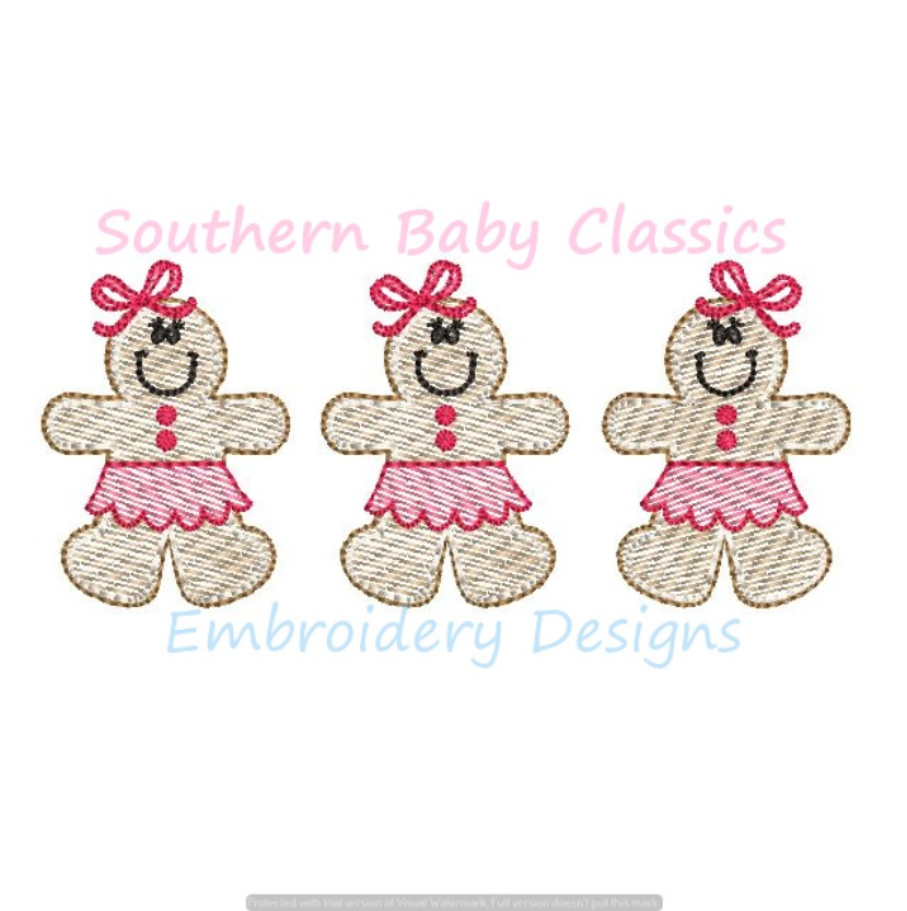 Christmas Cookie Gingerbread Girl Trio Three Sketchy Light Fill Machine Embroidery Design