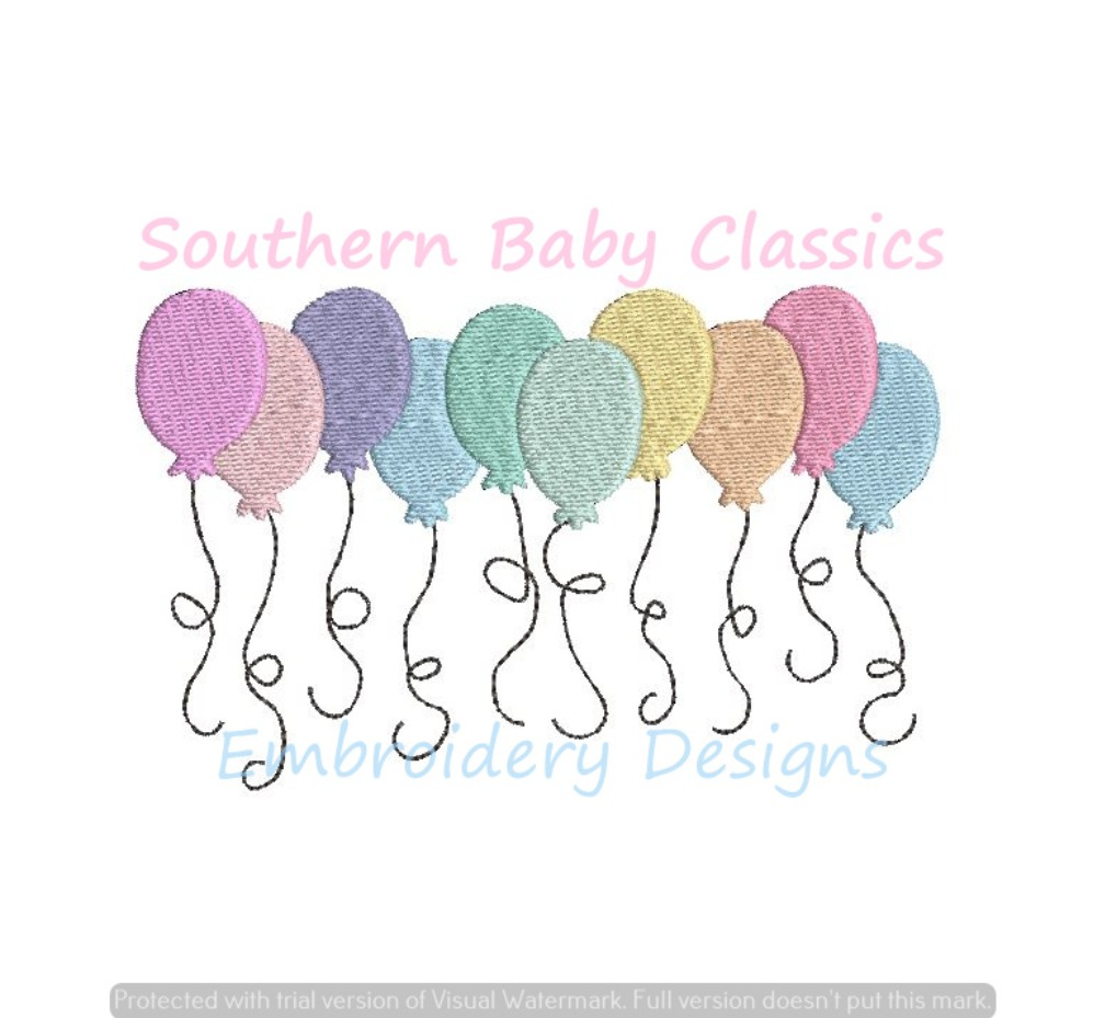 Birthday Balloons Fill Machine Embroidery Design Happy Party Balloon Row
