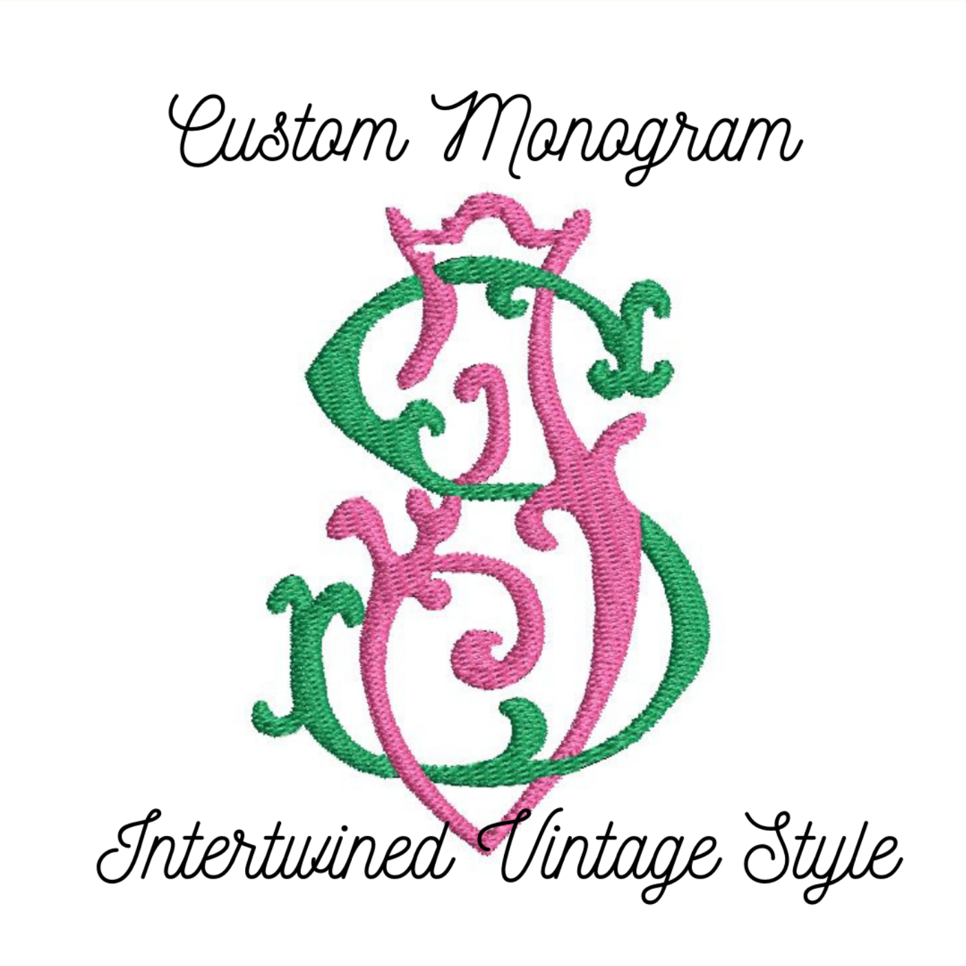 Custom Vintage Style Intertwined Monogram 2 Letters Machine Embroidery Design