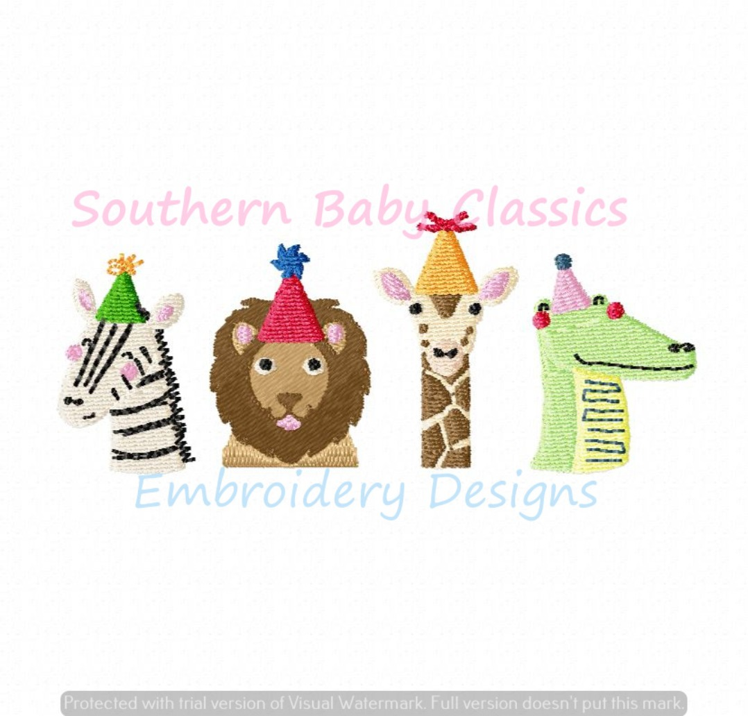 Birthday Party Hat Animals Fill Machine Embroidery Design Boy Girl First Zoo
