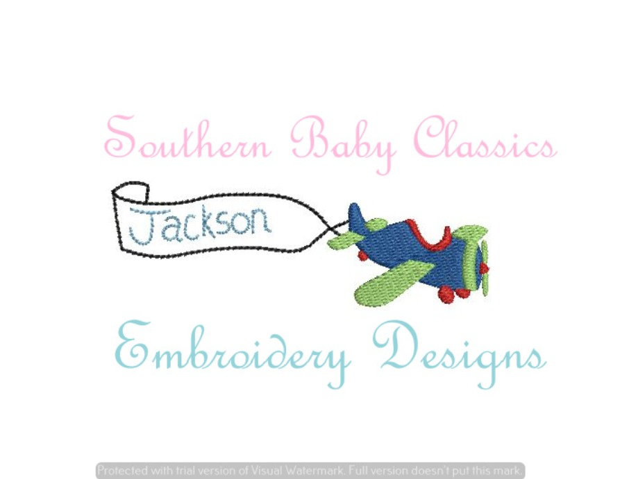 Air Plane Mini Fill with Vintage Stitch Banner Machine Embroidery Design