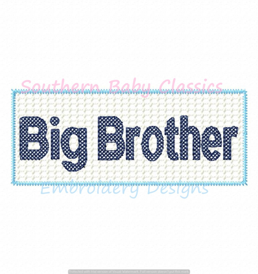 Big Brother Faux Smocked Smocking Panel Machine Embroidery Design New Baby Shower