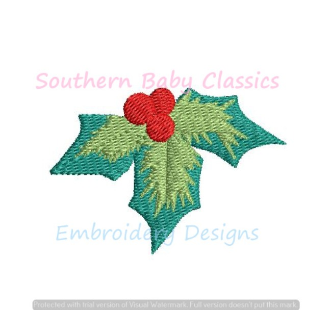 Christmas Holly Berry Berries Two Tone Color Mini Fill Machine Embroidery Design