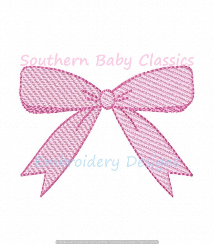 Bow Ribbon Sketchy Fill With Outline Machine Embroidery Design Baby Girl Cute Preppy