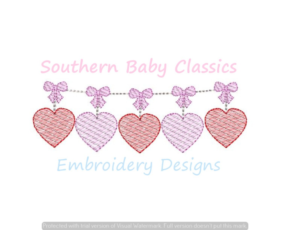 Heart Bow Valentine Swag Sketchy Light Fill Machine Embroidery Design Hearts Valentine's Day