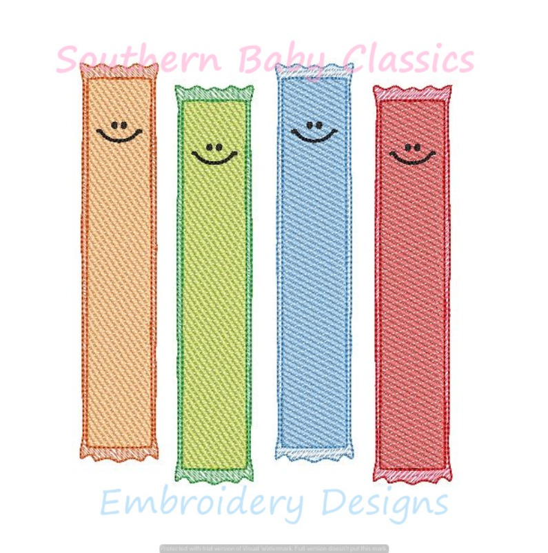 Ice Pops Popsicle Ice Cream Light Sketchy Fill Machine Embroidery Design Popsicles Summer Boy Girl