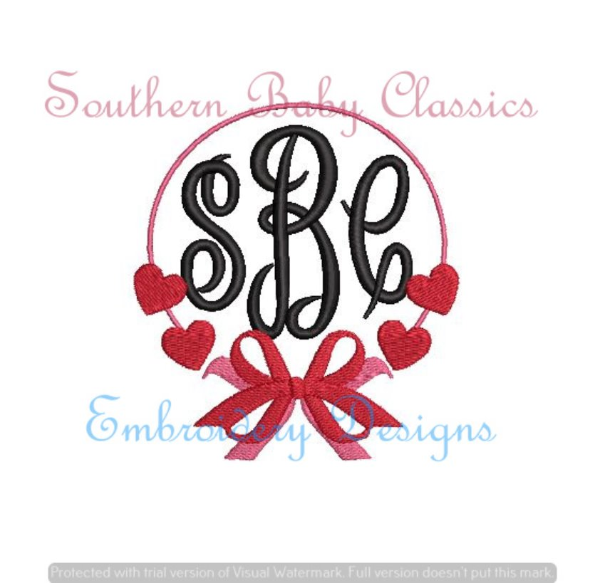Heart Big Bow Frame Fill Monogram Frame Machine Embroidery Valentine's Day
