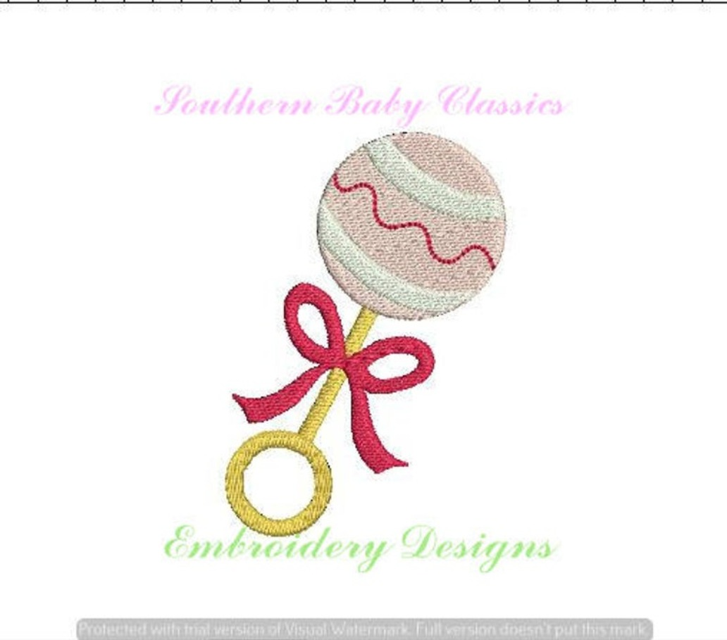 Baby Rattle Girl with Bow Mini Fill Machine Embroidery Design Babies