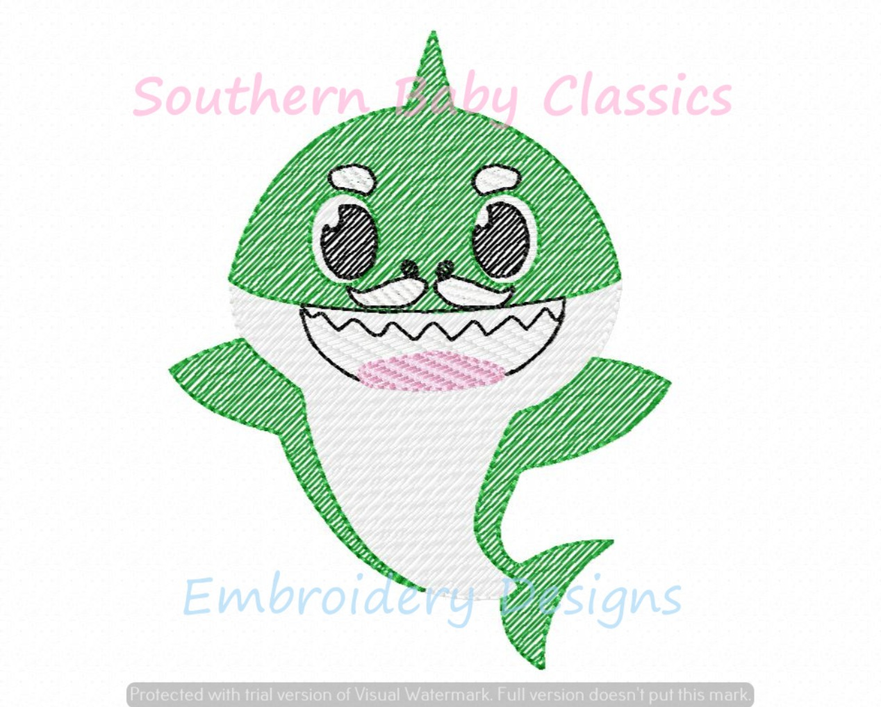 Granpa Grandfather Shark Character Light Sketchy Fill Machine Embroidery Design