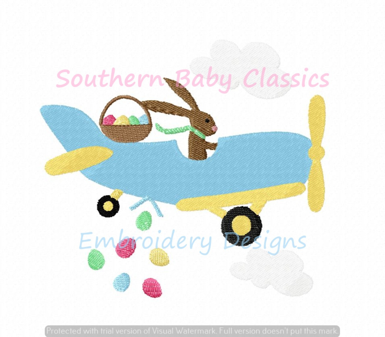Easter Bunny Airplane Egg Drop Fill Machine Embroidery Design Spring Boy Girl Cute Rabbit