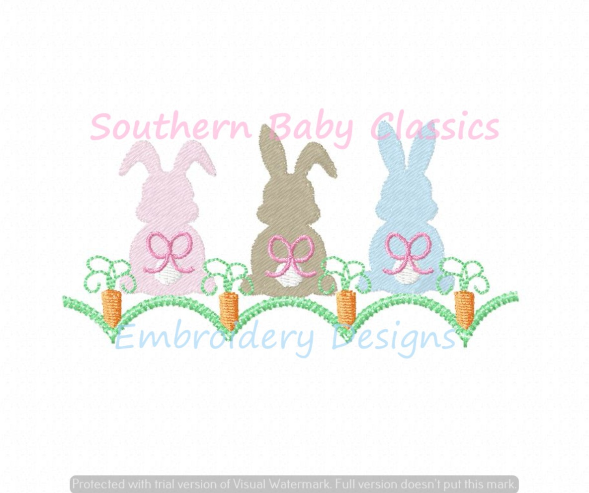 Girl Bunny Rabbit in Carrot Patch Garden Machine Embroidery Design Easter Bunnies Bow