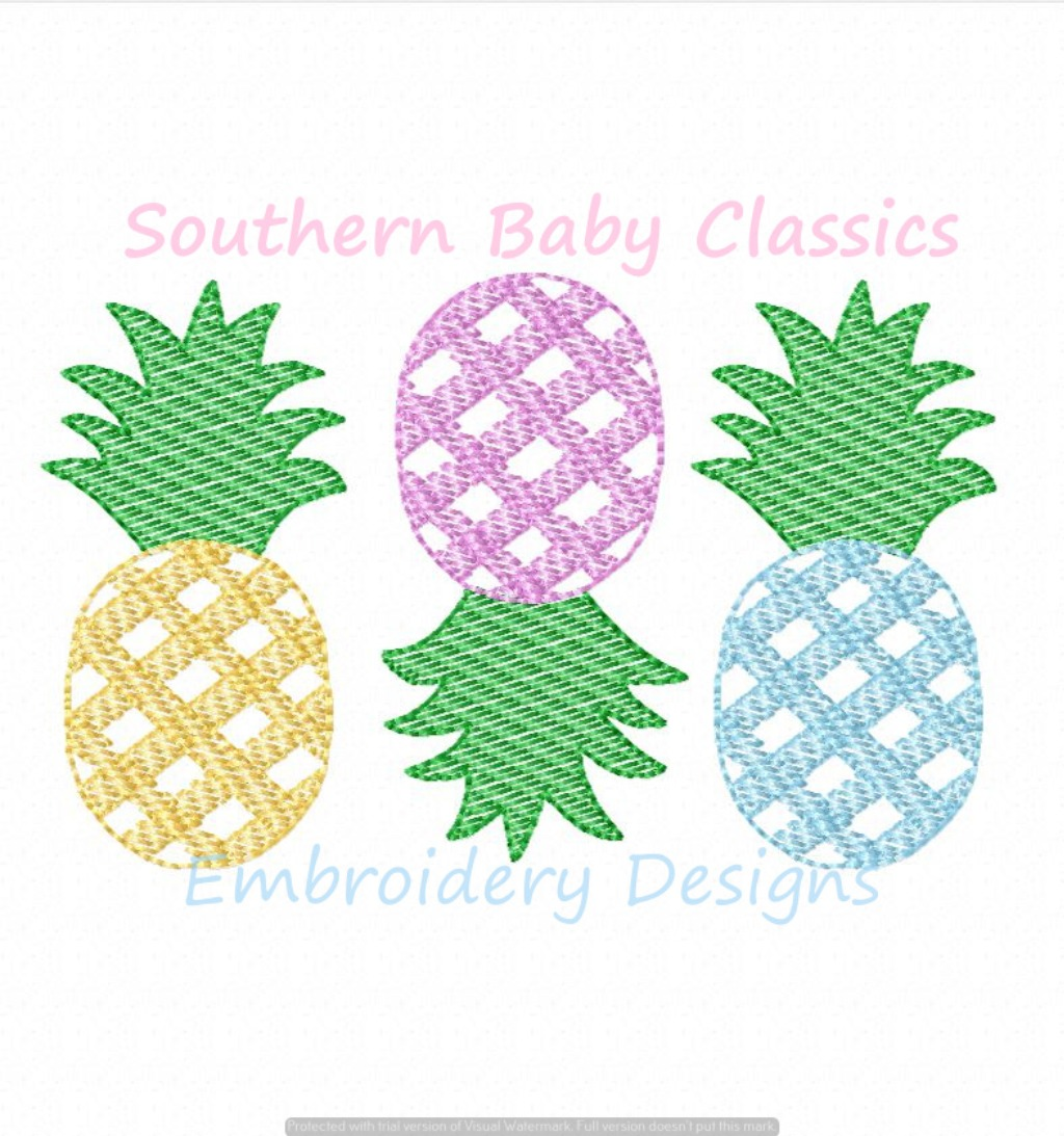 Gingham Pineapple Sketchy Fill Trio Machine Embroidery Design Preppy Summer