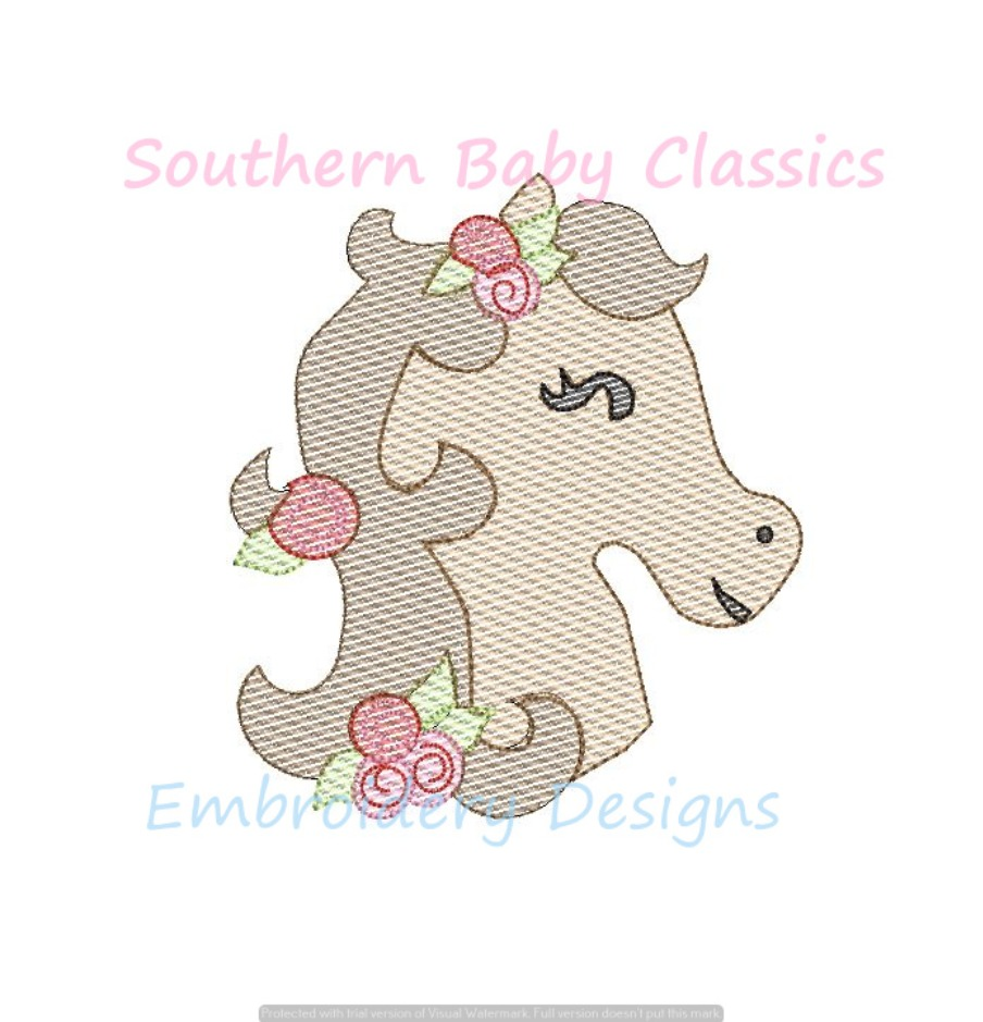 Horse Head Floral Flowers Derby Racing Light Fill Machine Embroidery Design