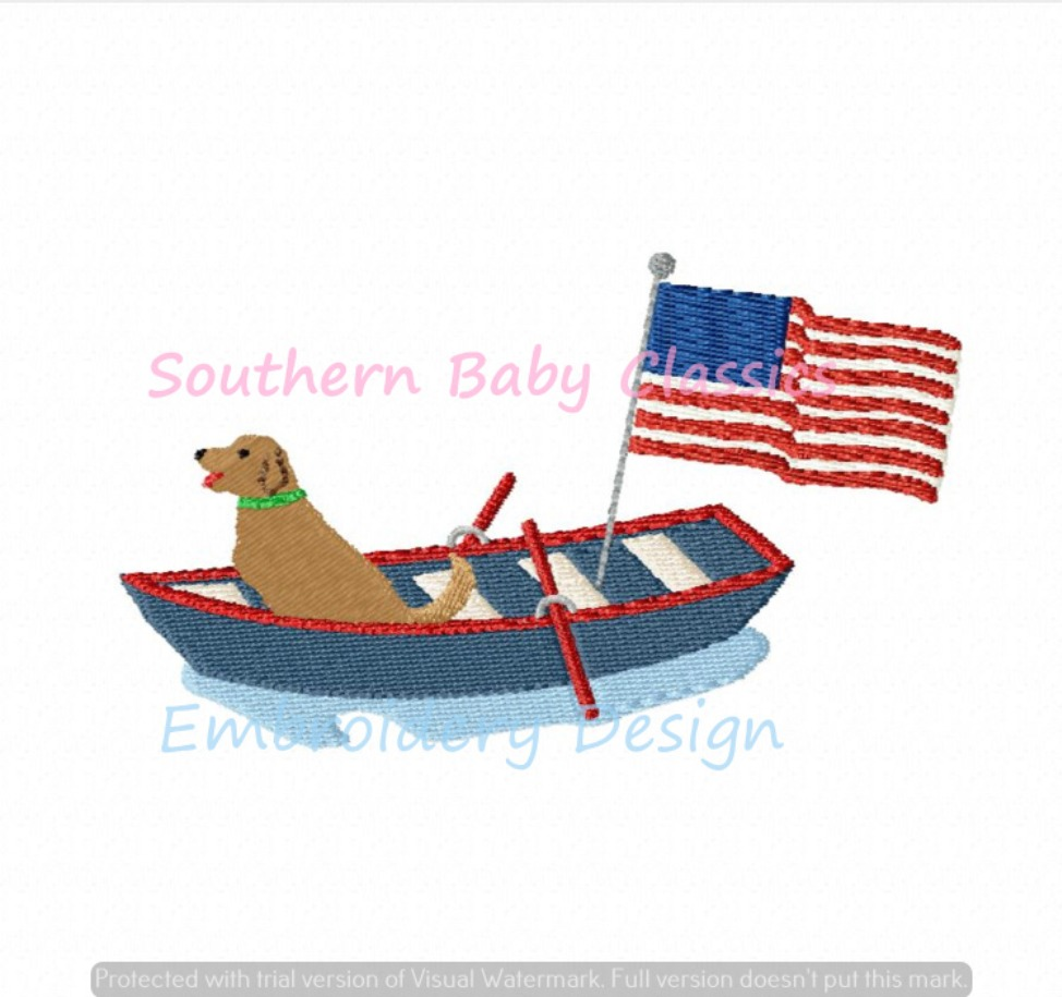 Golden Retriever Dog Boat American Flag Patriotic 4th of July Machine Embroidery Design Indpendence