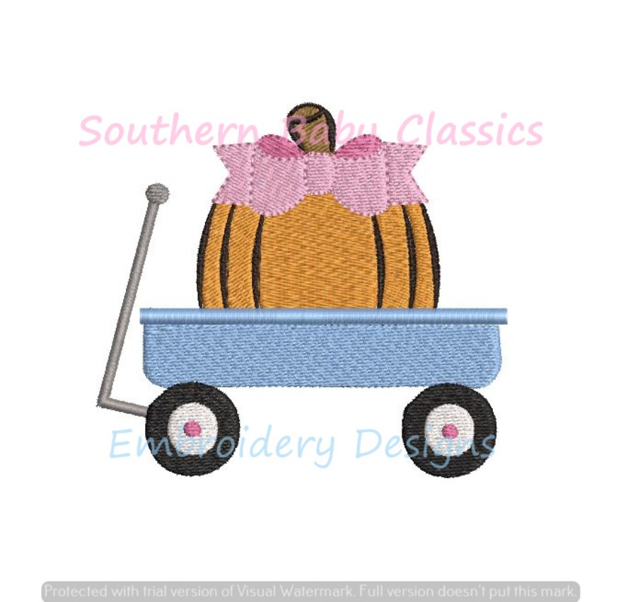Mini Pumpkin With Bow in Wagon Girl Fill Machine Embroidery Design Halloween Fall Thanksgiving
