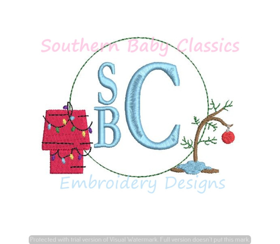Christmas Monogram Frame Character Dog House Scraggly Tree Machine Embroidery Design