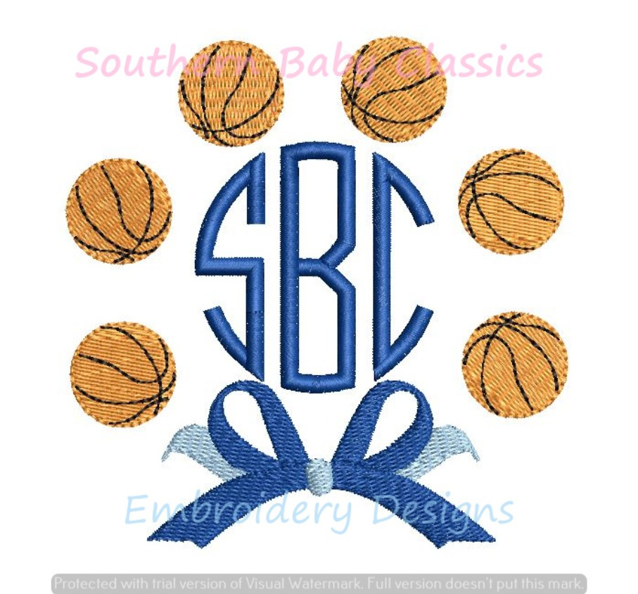 Basketball Circle with Bow Monogram Frame Machine Embroidery Design Girl