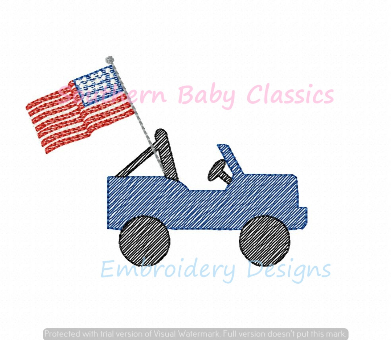 American Flag Jeep Light Sketchy Fill Machine Embroidery Design Truck Fourth of July Independence