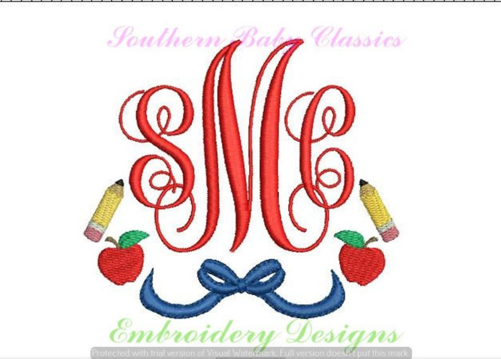 Back to School Apple Pencil Bow Monogram Frame Swag Machine Embroidery