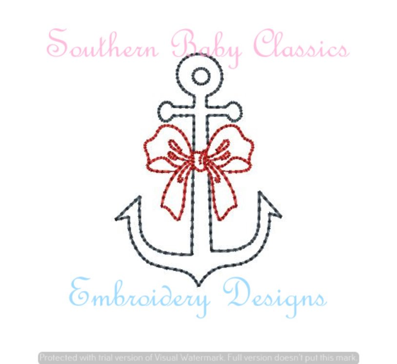 Anchor Bow Vintage Stitch Machine Embroidery Summer
