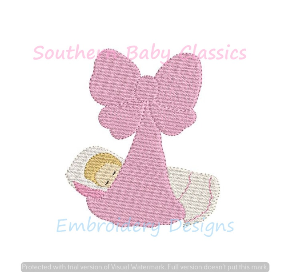 Baby in Bow Wrap Blanket Mini Fill Machine Embroidery Design Shower