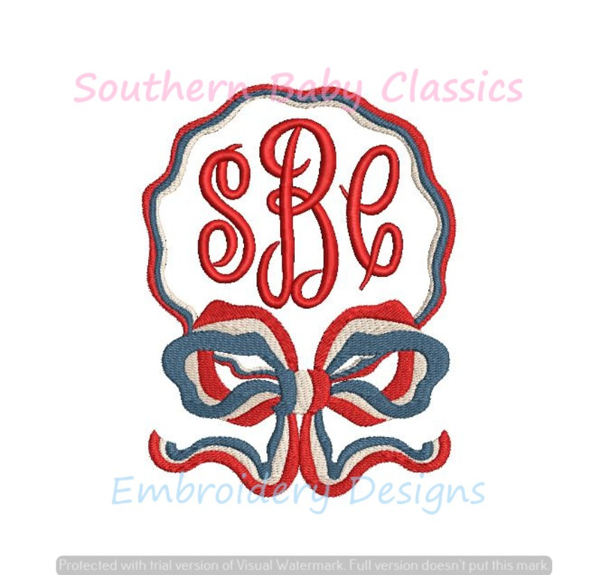 Patriotic Ribbon Bow Monogram Frame Machine Embroidery Design 4th Fourth of July Red White Blue