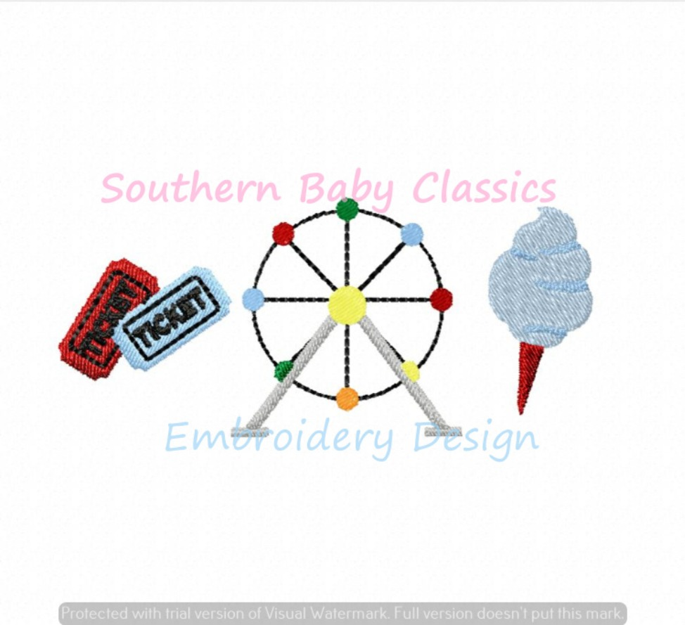 County Fair Trio Machine Embroidery Design Country Ferris Wheel Cotton Candy Tickets