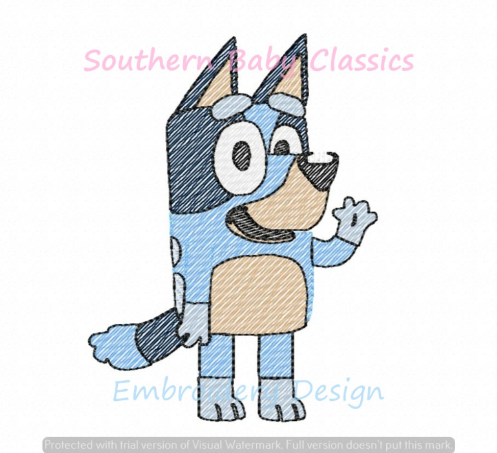 Blue Dog Character Sketchy Fill Machine Embroidery Design