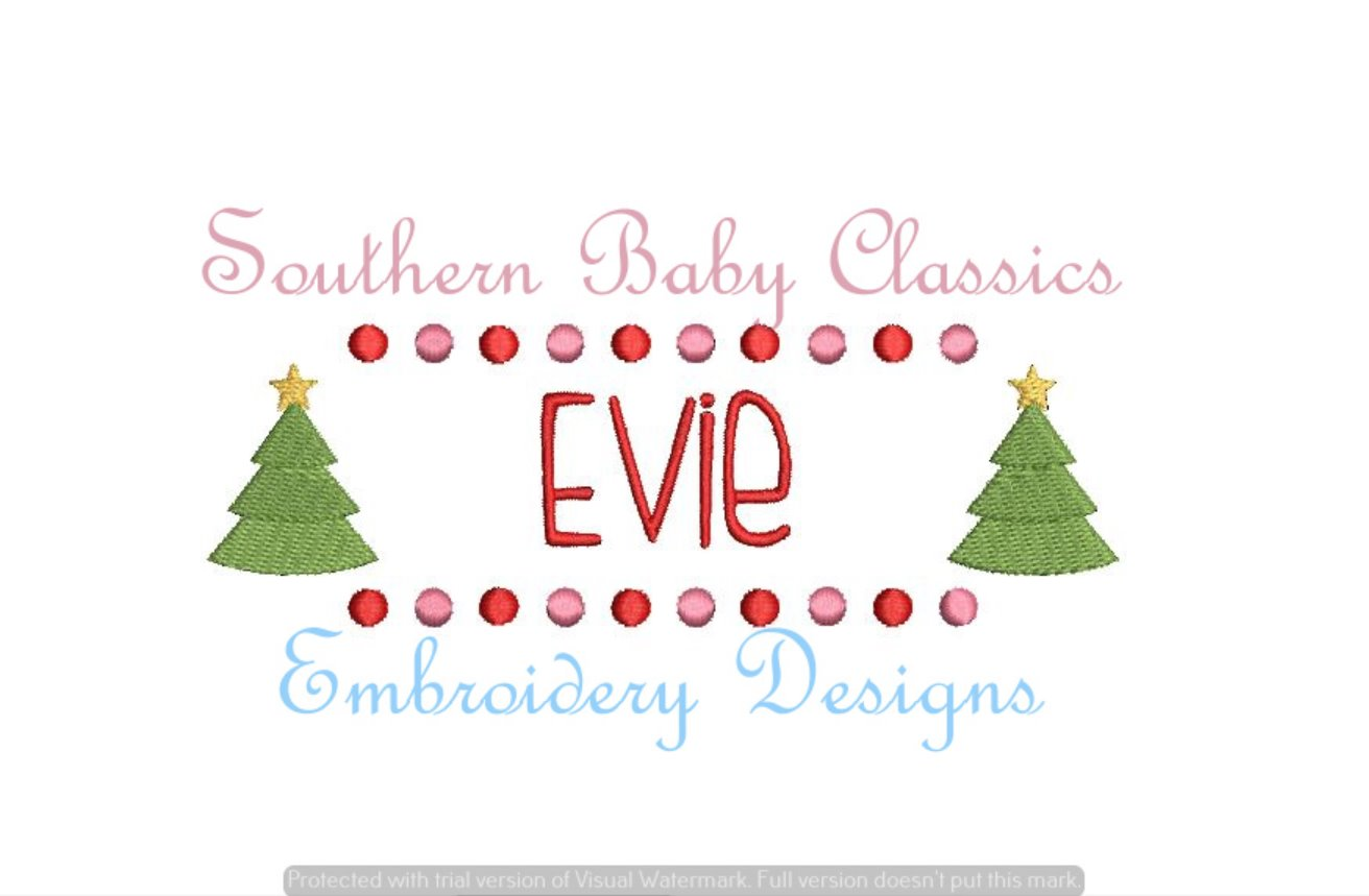 Christmas Tree Name Plate Fill Machine Embroidery