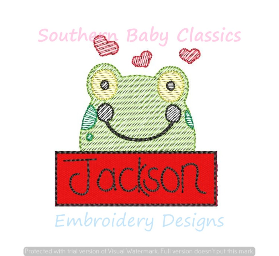 Frog Valentine Heart Name Plate Applique Light Sketchy Fill Boy Hearts Valentine's Day