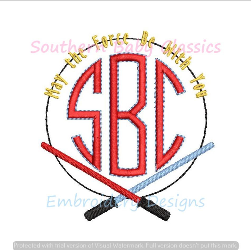 May the Force Star Fighter Saber Monogram Frame Machine Embroidery Design