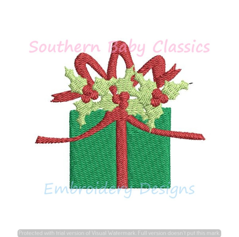 Holly Berry Christmas Present Bow Ribbon Single Mini Fill Machine Embroidery Design