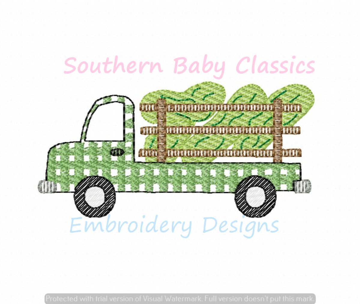 Pickle Truck Birthday Gingham Light Sketchy Fill Machine Embroidery Design