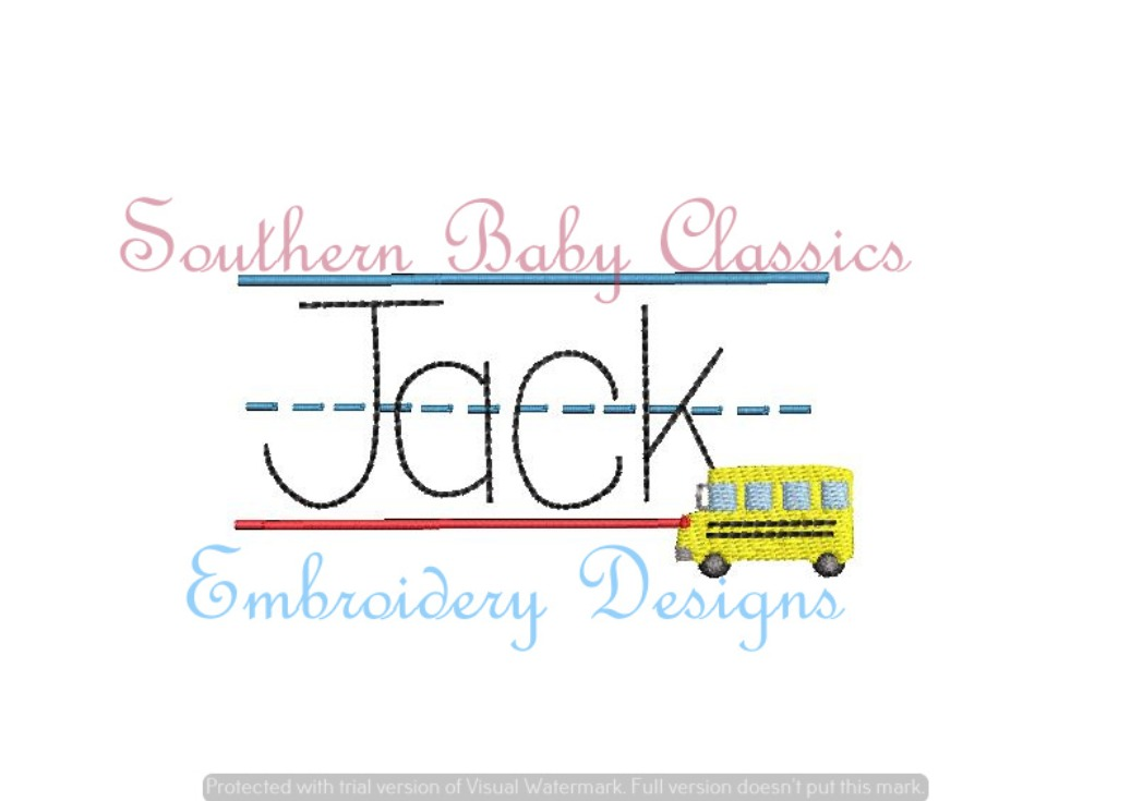 Lined Writing Paper Name Plate Back to School Bus Machine Embroidery Design