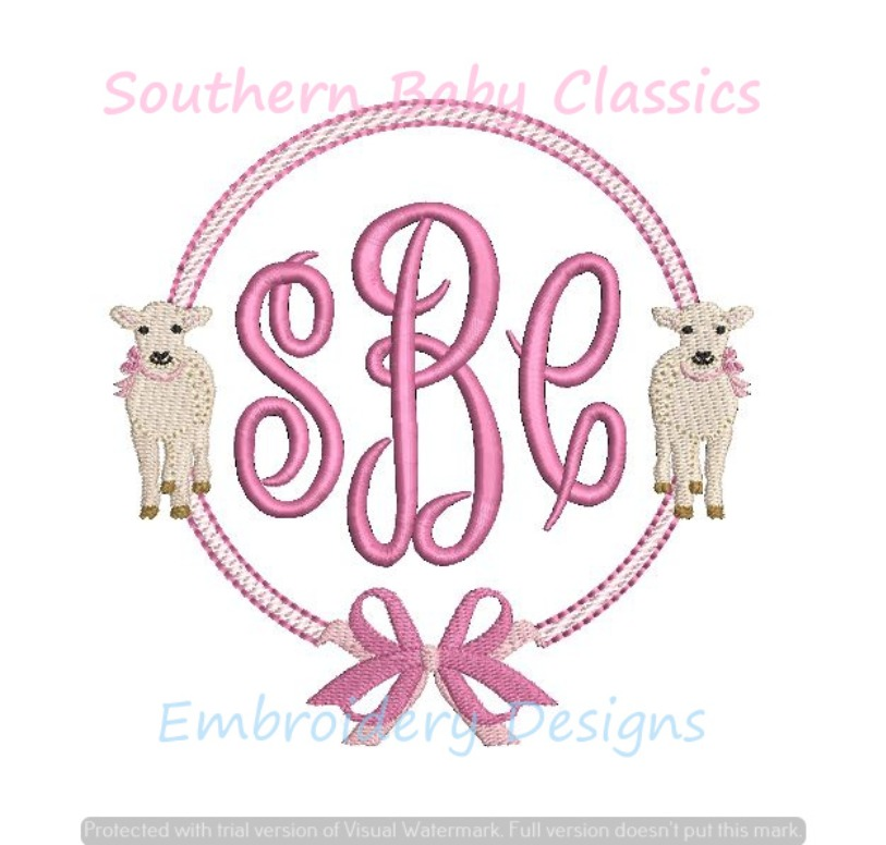 Double Lamb Lambs Bow Girl Sheep Easter Circle Monogram Frame  Machine Embroidery Design
